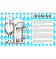 refreshment drink glass oktoberfest promo poster vector image vector image