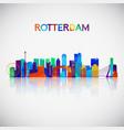 rotterdam skyline silhouette vector image vector image