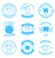 set dental clinic logo templates dental labels vector image
