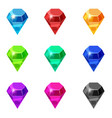 set diamonds isolated different colors on white vector image vector image
