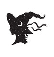 silhouette beautiful witch girl in pointy hat vector image vector image