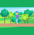 skater outdoors young skater in cute hat riding vector image vector image