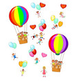 small children fly on balloons vector image