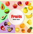 summer background fruit icon set vector image vector image