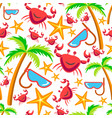 summer plants and animals tropical seamless vector image vector image