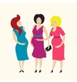 Three Pregnant Young Women Friends vector image vector image
