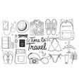 time to travel concept travel objects flat lay vector image vector image