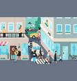 urban street scene people living in city vector image