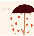 Valentine background with hearts and umbrella vector image
