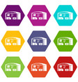 warehouse for loading icons set 9 vector image vector image