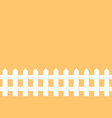 white garden fence on orange background vector image
