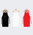 white red and black aprons apron mockup clean vector image vector image