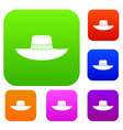 woman hat set color collection vector image vector image