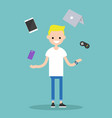 young blond boy juggling electronic devices vector image vector image