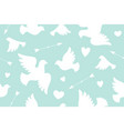 seamless pattern with white love doves vector image