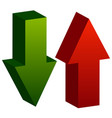3d arrows point up and down in green and red vector image vector image