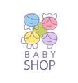 baby shop logo design emblem with kid faces