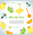 background with flat honey elements poster with vector image vector image