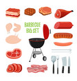 barbecue set - different meat bbq stand vector image vector image