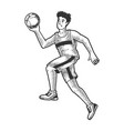 basketball player ball sketch engraving vector image