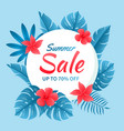 beautiful summer sale with tropical flowers vector image vector image