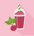 beetroot smoothie or juice in plastic glass vector image vector image