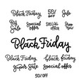 black friday sale typography text collection vector image