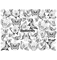 Butterfly colorless set vector image vector image