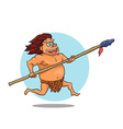 Cartoon Male Caveman Character with spear vector image vector image