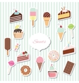 Cartoon sweets set - ice cream donuts cupcakes vector image