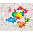 chinese carp lantern festival doodle graphic vector image vector image