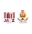 collection jazz festival logo design live vector image