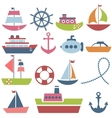 Colorful sea transport set vector image vector image