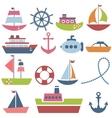 Colorful sea transport set vector image