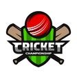 Cricket sports logo label badge emblem vector image