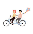 cute couple dressed in trendy clothes riding vector image vector image