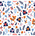 cute seamless pattern with hand drawn flowers and vector image vector image