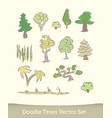 doodle trees set isolated on white background vector image vector image