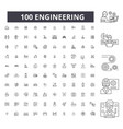 engineering editable line icons 100 set vector image vector image