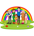 family in the park on rainbow day vector image