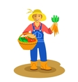 Farmer woman standing with vegetables harvest vector image