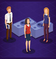 finacial transaction with business people vector image