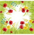 flower and grass frame vector image vector image