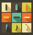 Food Set of bright icons in flat style vector image vector image