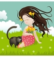 Girl with cat sitting on grass vector image vector image