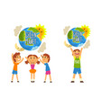 green planet and kids save planet ecology vector image vector image