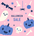 halloween sale offer cute hand drawn template vector image