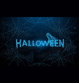 halloween with blue spider web and ghosts vector image