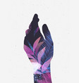 hand silhouette floral violet tones vector image
