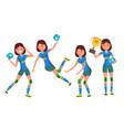 handball young woman player girl athlete vector image vector image
